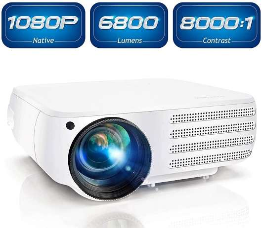 Poner Saund 1080P Native 6800 Lumens HDMI Projector for Home &Office