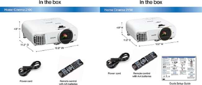 Similarities between Epson 2100 vs 2150 Projector