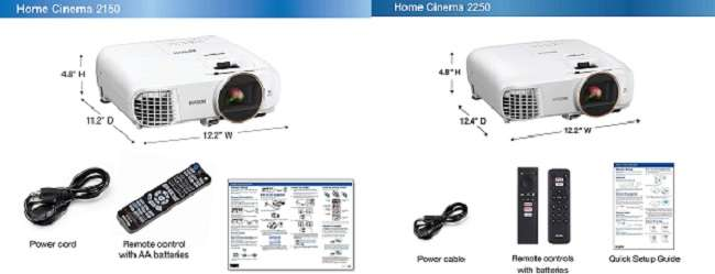 What are the differences between Epson 2150 vs 2250 projector
