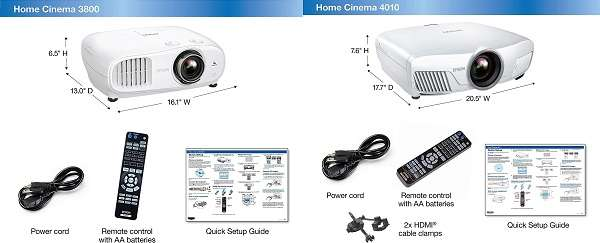 What are the similarities and dissimilarities between Epson 3800 vs 4010 Projector